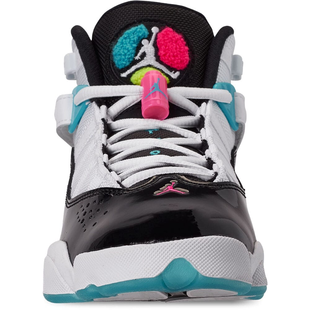 BLACK-HYPER PINK CK0025 100 GRADE SCHOOL JORDAN 6RINGS WHITE GS