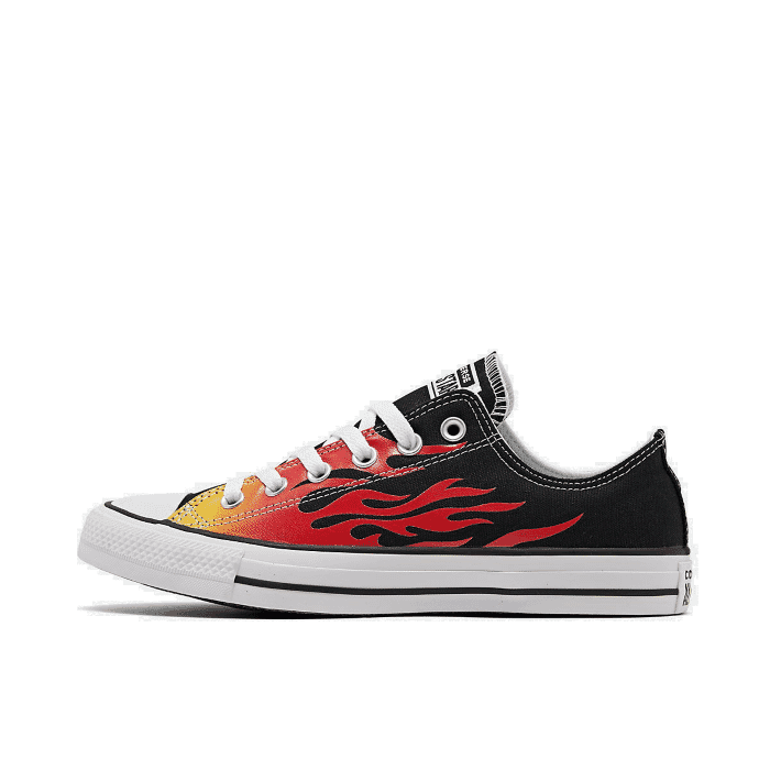 Details about Men's Converse Chuck Taylor All Star Flames Low Top Casual Shoes BlackEnamel Re