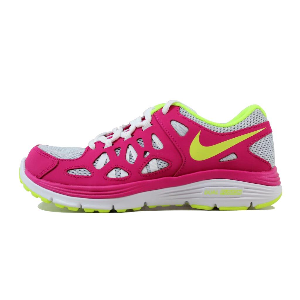 93b9e0f4fcff Nike Dual Fusion Run 2 Pure Platinum Volt Ice-Vivid Pink 599793-005 Grade- School Size 4.5Y