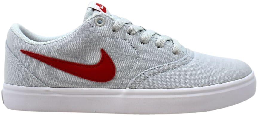 Nike Sb Check Solar Cnvs Pure Platinum University Red White 843896 006 Men S Ebay
