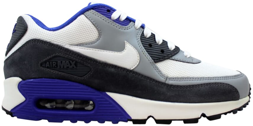 Details about Nike Air Max 90 Essential WhiteSilver Dark Grey 537384 122 Men's Size 9.5