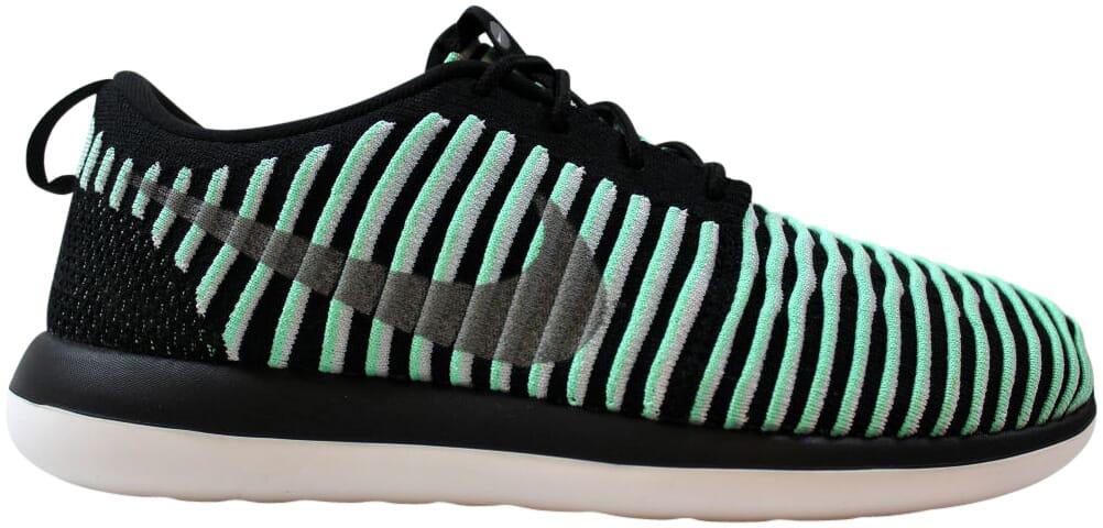 Nike Roshe Two Flyknit Green Glow/Metallic Silver 844620-301 GS Size 6Y