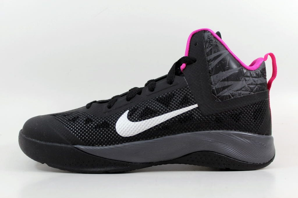 eabba9869e2 Nike Hyperfuse 2013 Black Metallic Silver Dark Grey-Pink Grade-School  616603-002 Size 7 Medium
