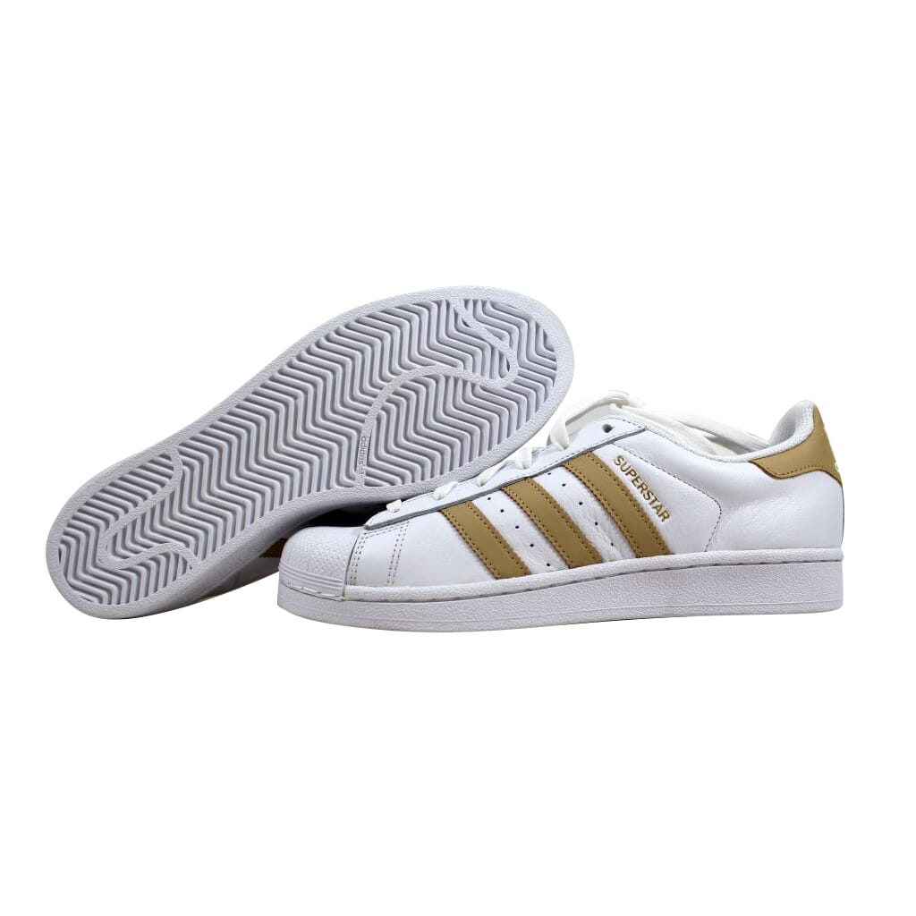sports shoes 00730 0af1c Details about Adidas Superstar White/Linen Khaki-Gold CQ0676 Men's SZ 7
