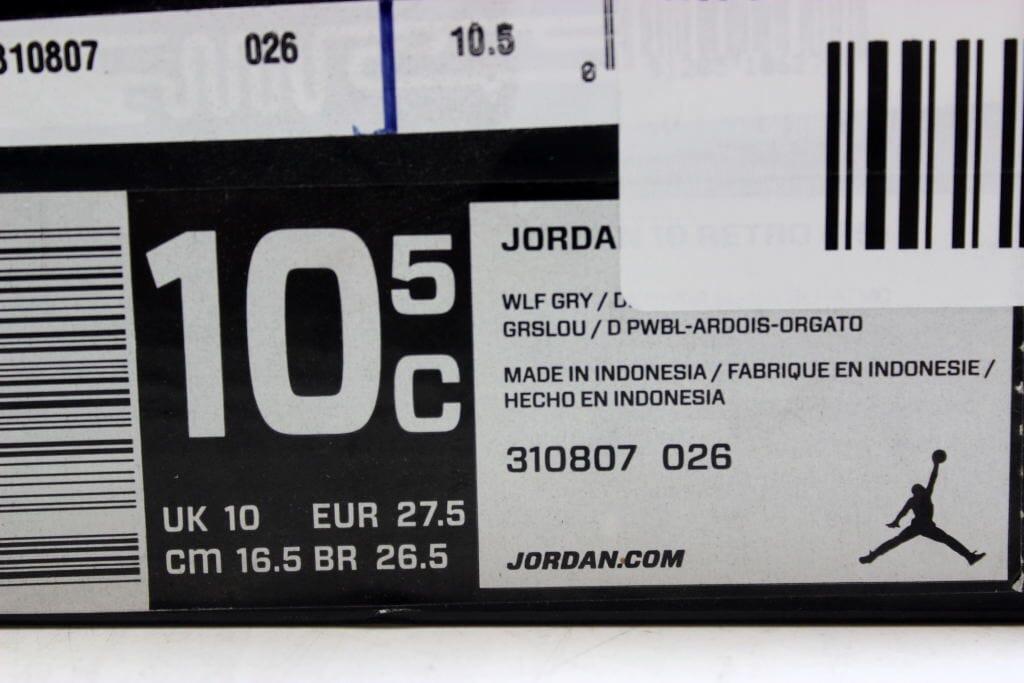 2b00de61cf30 Nike Air Jordan X 10 Retro PS Wolf Grey Dark Powder Blue-Slate Bobcats  310807-026 Pre-School Size 10.5Y