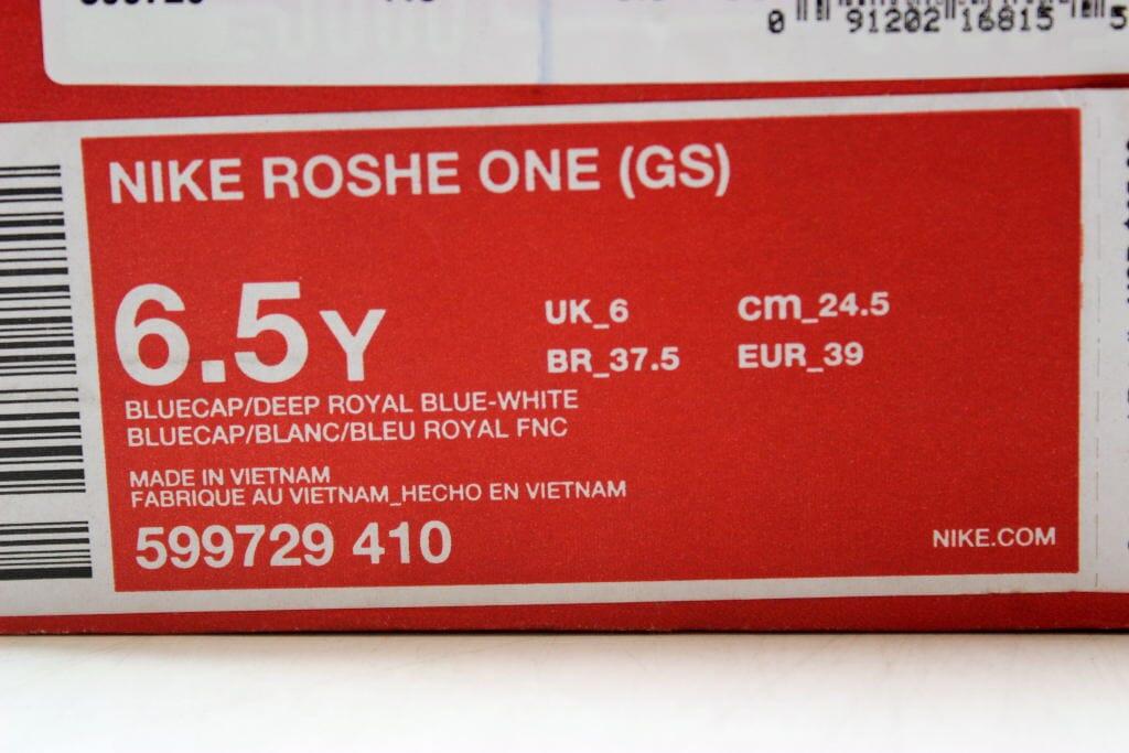 ffaedc2790e53 Nike Roshe One Bluecap Deep Royal Blue-White 599729-410 Grade-School Size  6.5Y