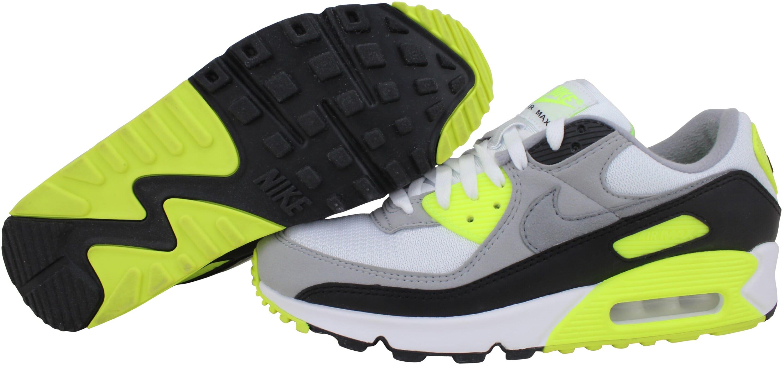 Nike Air Max 90 White/Particle Grey-Volt-Black CD0881-103 Men's Size 8.5 Medium