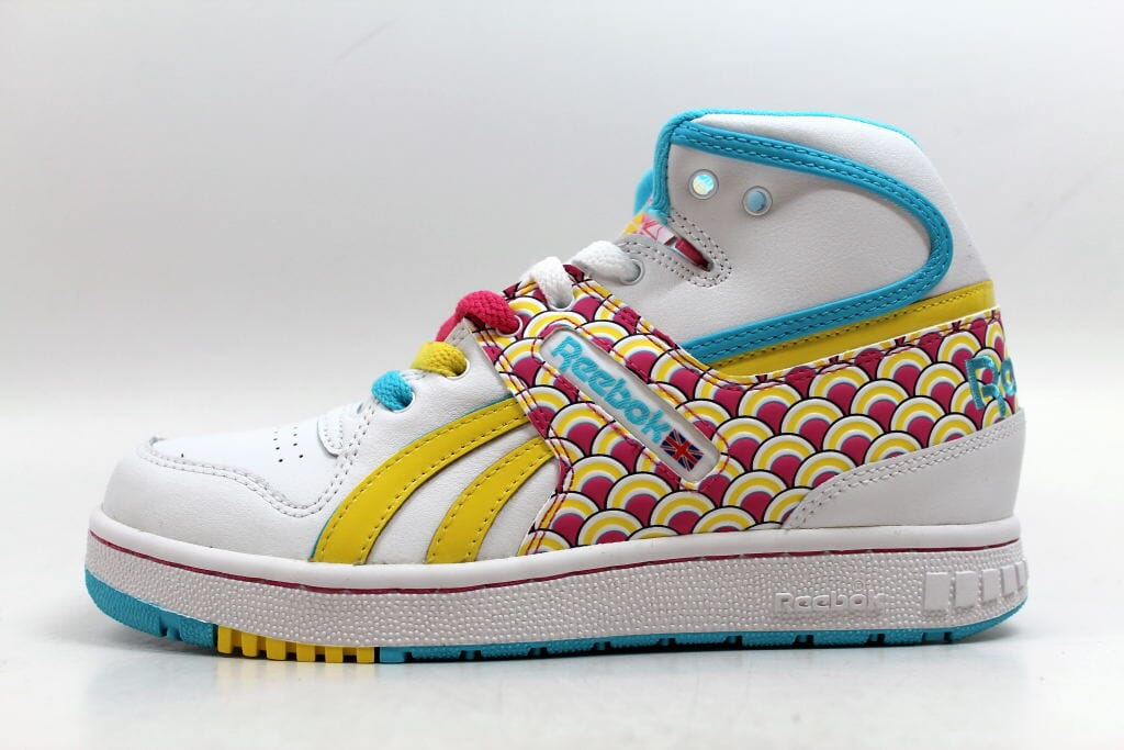 Reebok Pro Legacy Mid Fishscale White Hot Lips-Yellow-Blue 4-709987 Women s  Size 5 c13ea0a47
