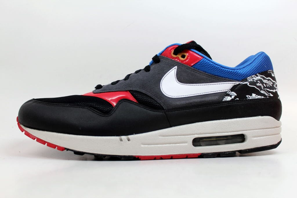 Details about Nike Air Max 1 BlackWhite Red Royal Friendly Football Pack 308866 011 SZ 15