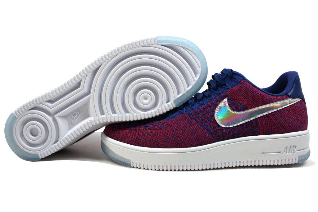 Nike AF1 Ultra Flyknit Low Premium Gym Red/Deep Royal Blue-Wht 826577-601 SZ 12 Scarpe classiche da uomo