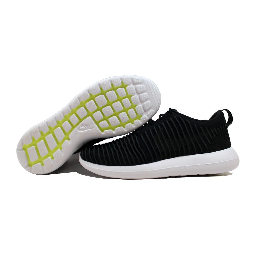 Nike-Roshe-Two-Flyknit-Black-Dark-Grey-White-Volt-844833-001-Men-039-s