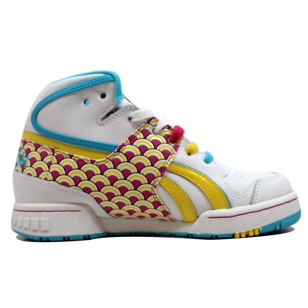 Details about Reebok Pro Legacy Mid Fishscale White Hot Lips-Yellow-Blue  4-709987 Women s SZ 5 ea538cfff