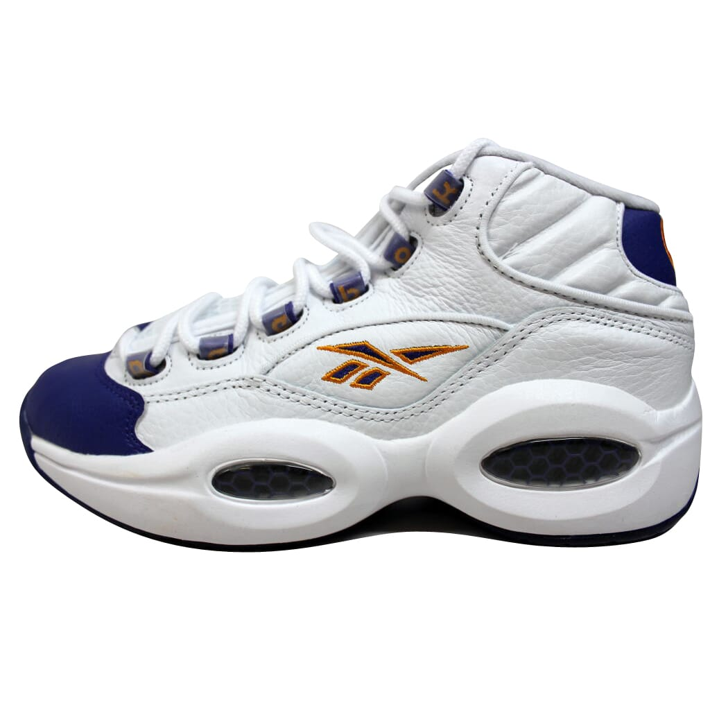 223ddb89b55 Details about Reebok Question Mid White Purple-Yellow Kobe Bryant V53581  Men s SZ 6