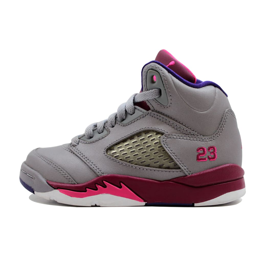 66fe2e92c71df7 Nike Girls Air Jordan V 5 Retro PS Cement Grey Pink-Red 440893-009 ...