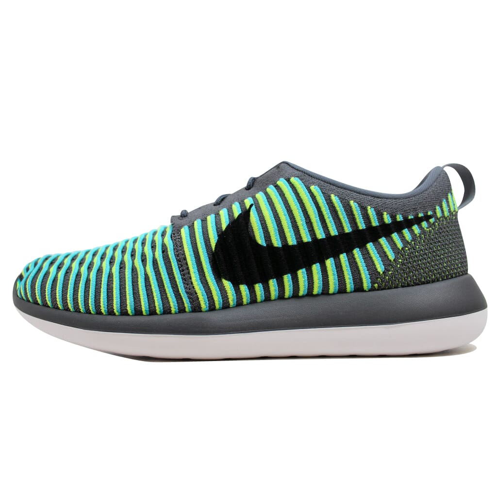 738d8764d153 Details about Nike Roshe Two Flyknit Dark Grey Black-Gamma Blue-Volt  844833-004 Men s SZ 10