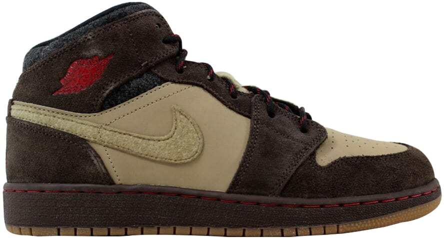 0e226407aa6dc1 Nike Air Jordan I 1 Mid Premium BG Brown Gym Red-Khaki-Black 619049 ...